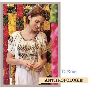 C. Keer Anthropologie Boho Embroidered Tribal Top